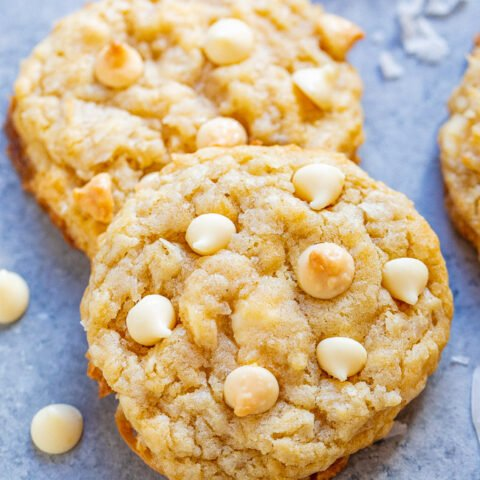 Coconut White Chocolate Cookies - Soft, chewy, and so moist thanks to the coconut and browned butter with the PERFECT amount of white chocolate!! If you like white chocolate, you will LOVE these spring and summery-tasting EASY cookies!!