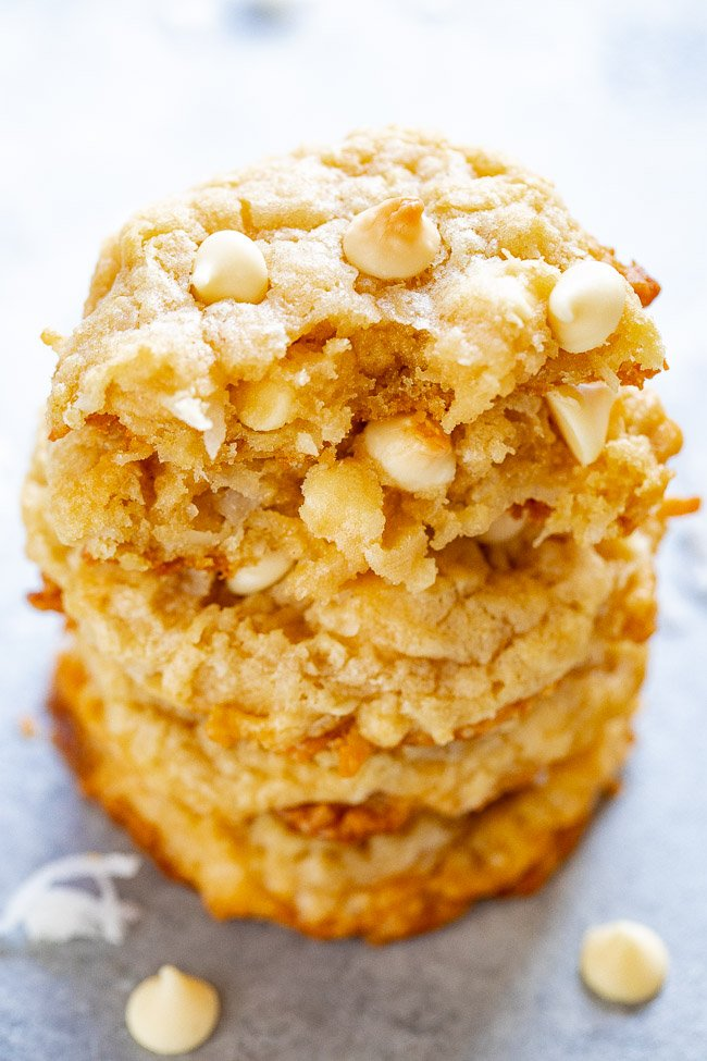 stack of white chocolate coconut cookies