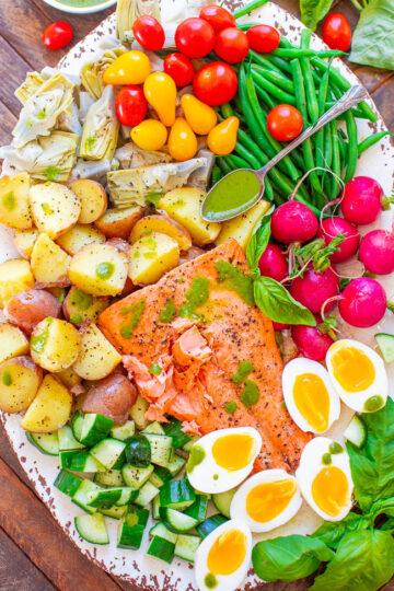 Salmon Niçoise Salad with Basil Vinaigrette
