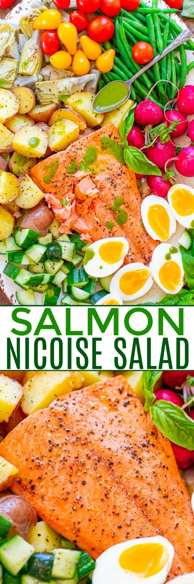 Salmon Niçoise Salad with Basil Vinaigrette - An ELEGANT French-inspired salad with juicy salmon, tender potatoes, soft-boiled eggs, crispy haricots verts, and more - all drizzled with a super FLAVORFUL fresh basil vinaigrette!! This BEAUTIFUL salad has something for everyone!!