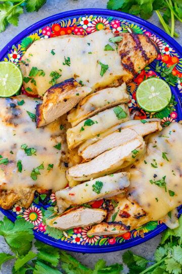 Grilled Salsa Verde Pepper Jack Chicken