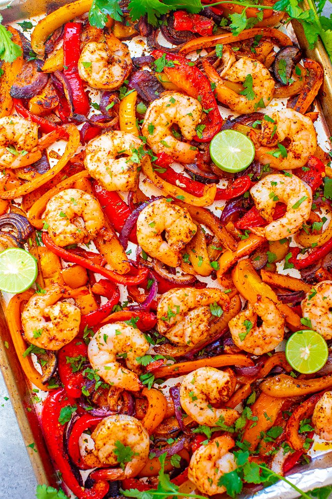 Sheet Pan Shrimp Fajitas - EASY, ready in 30 minutes, tastes AUTHENTIC, and made on ONE sheet pan to keep things simple – especially on busy nights!! You don't need to go out to a Mexican restaurant when you can make fajitas this GOOD and healthier at home!!
