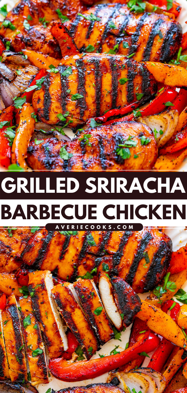 Grilled Sriracha Barbecue Chicken - EASY, ready in 10 minutes, and the chicken is just spicy enough with that perfect BBQ chicken flavor!! Grilled peppers on the side makes for the PERFECT summer meal that's HEALTHY and DELICIOUS!!