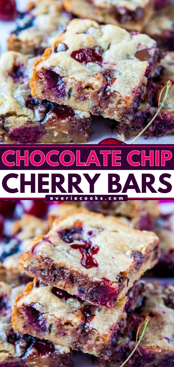Chocolate Chip Cherry Bars— Not sure what to make with cherries? These cherry bars use my favorite blondie base and turn out perfectly every single time! These bars are seriously so good and are a reader favorite!