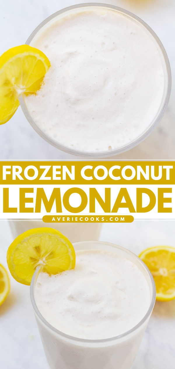 Coconut Frozen Lemonade— The EASIEST THREE ingredient frozen lemonade recipe that's creamy and refreshing with the PERFECT pop of tart lemon flavor!! You can easily spike it for an adults-only batch that's perfect for summer days!!