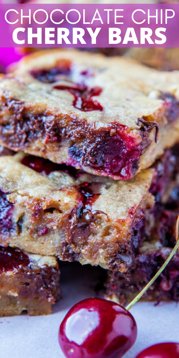 Chocolate Chip Cherry Bars — These cherry bars use my favorite blondie base and turn out perfectly every single time! These bars are seriously so good and are a reader favorite!