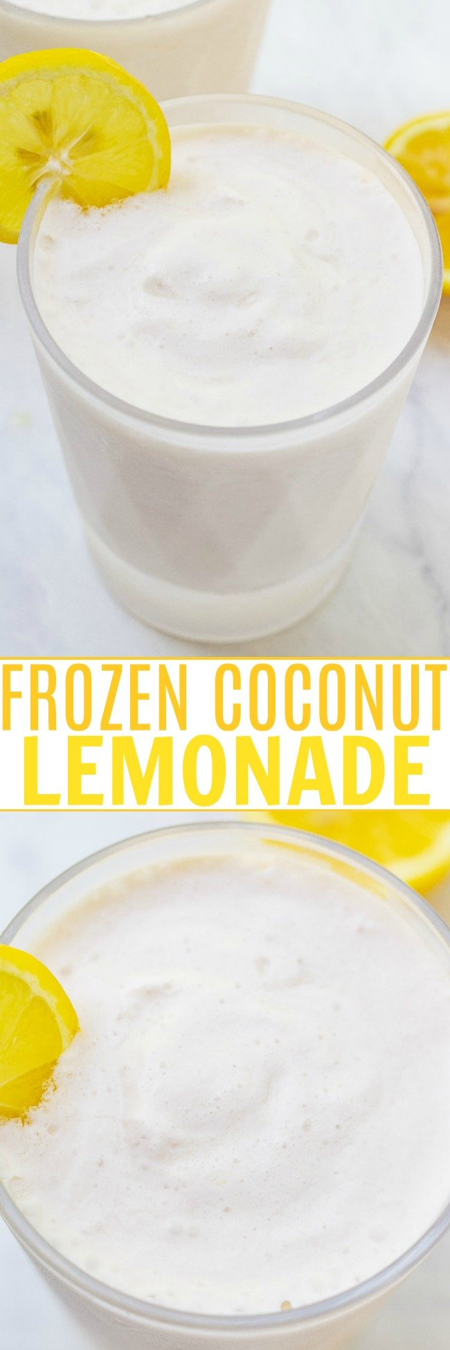 Frozen Coconut Lemonade - The EASIEST THREE ingredient whipped lemonade recipe that's creamy and refreshing with the PERFECT pop of tart lemon flavor!! You can easily spike it for an adults-only batch that's perfect for summer days!!