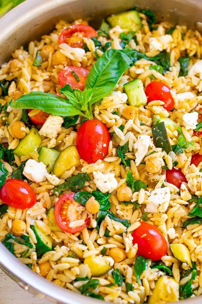 Lemon Basil Greek Orzo Salad – EASY, ready in 25 minutes, and lemon and basil give it such a FRESH taste!! Feeds a crowd, great for parties, picnics, and potlucks! Or perfect for meal prep weekday lunches and HEALTHY dinners!!