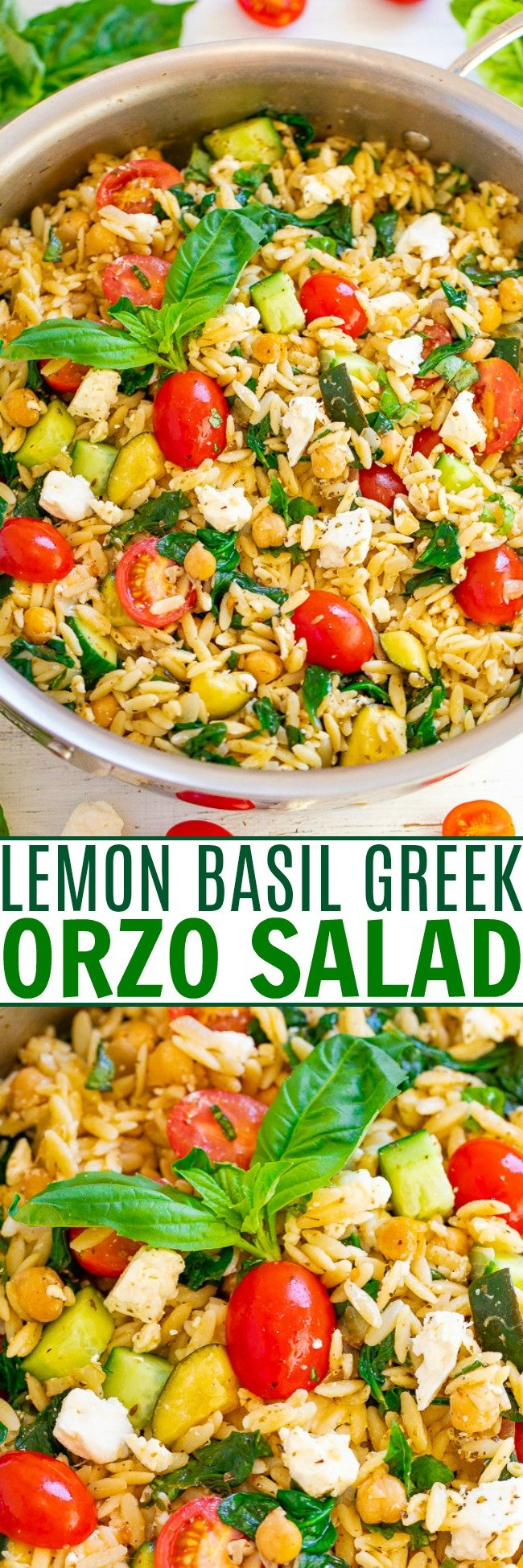 Lemon Basil Greek Orzo Salad - EASY, ready in 25 minutes, and lemon and basil give it such a FRESH taste!! Feeds a crowd, great for parties, picnics, and potlucks! Or perfect for meal prep weekday lunches and HEALTHY dinners!!