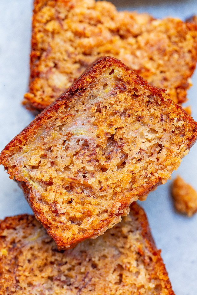 Cinnamon Sugar Streusel Banana Bread – Super SOFT tender banana bread that's impossible to resist!! The crispy, crumbly, streusel topping makes a good thing even BETTER!! An EASY no-mixer recipe and can be baked as one large loaf if you prefer!!