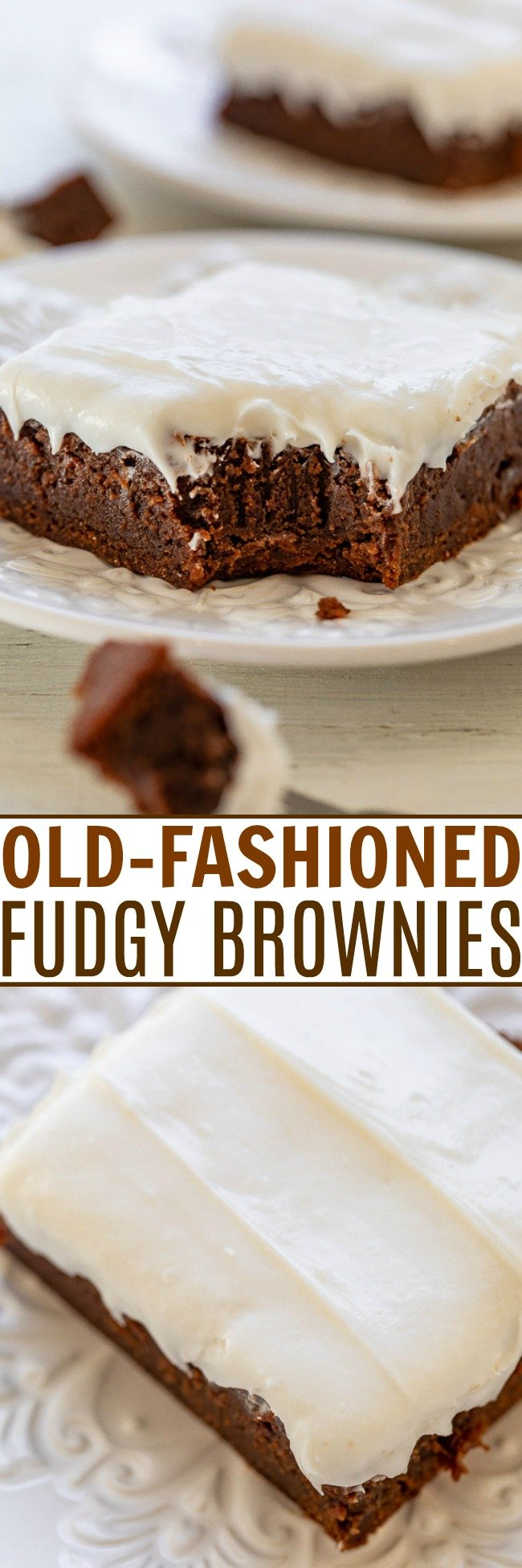 Old-Fashioned Fudgy Frosted Brownies - EASY one-bowl SCRATCH brownies that are perfectly fudgy and FAST to make when you're in the mood for chocolate!! The vanilla buttercream gives them a nostalgic taste that everyone LOVES!!