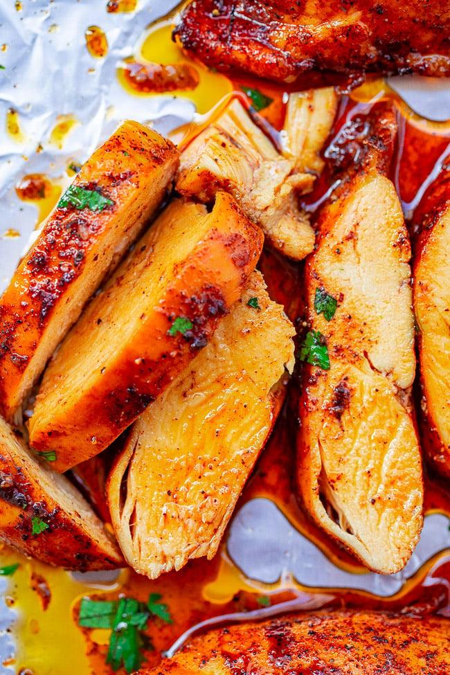 overhead view of sliced baked boneless chicken breast