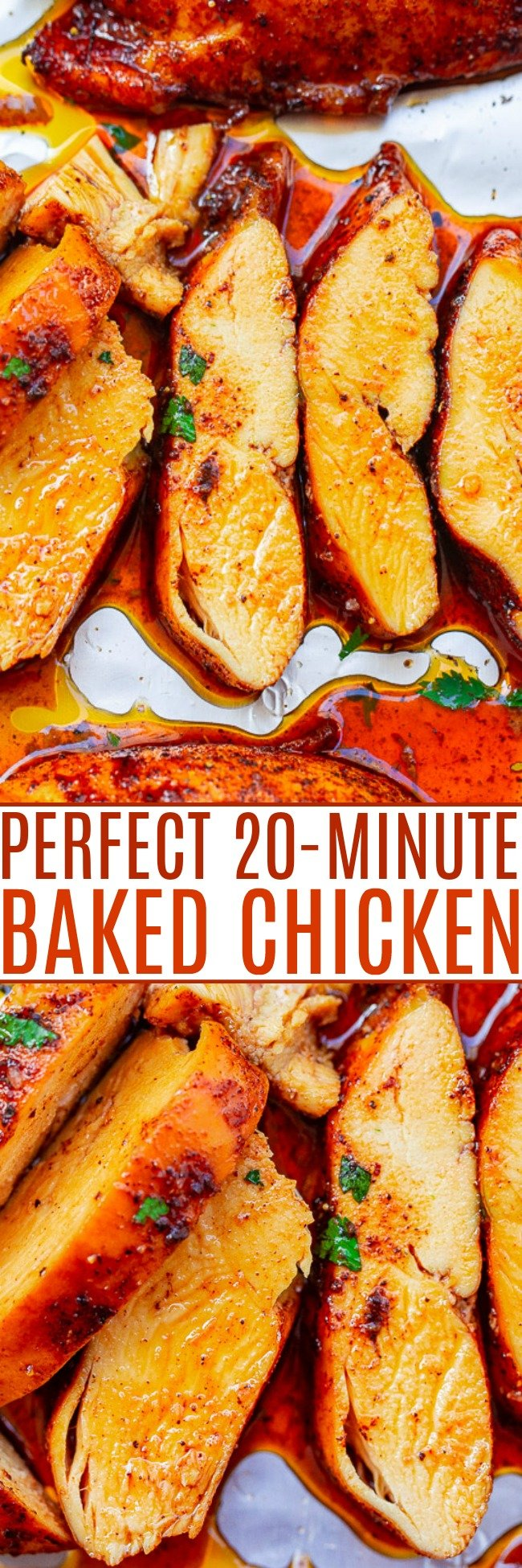 Perfect 20-Minute Oven-Baked Chicken Breasts - Super juicy, flavorful, EASY, and tender chicken that's ready in 20 minutes and made on ONE sheet pan!! Nothing complicated or fussy about this PERFECT chicken that everyone LOVES!!