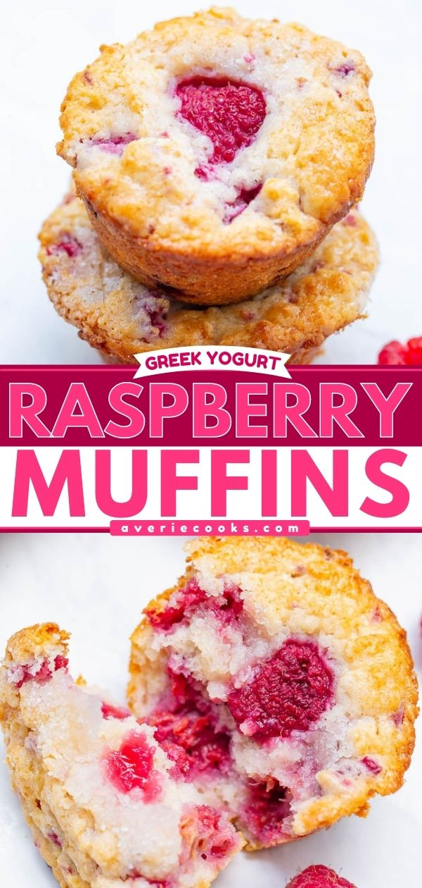 Greek Yogurt Raspberry Muffins — EASY, soft, fluffy muffins bursting with fresh raspberries!! So moist thanks to Greek yogurt in the batter! Not overly sweet and perfect with a cup of coffee or tea!!