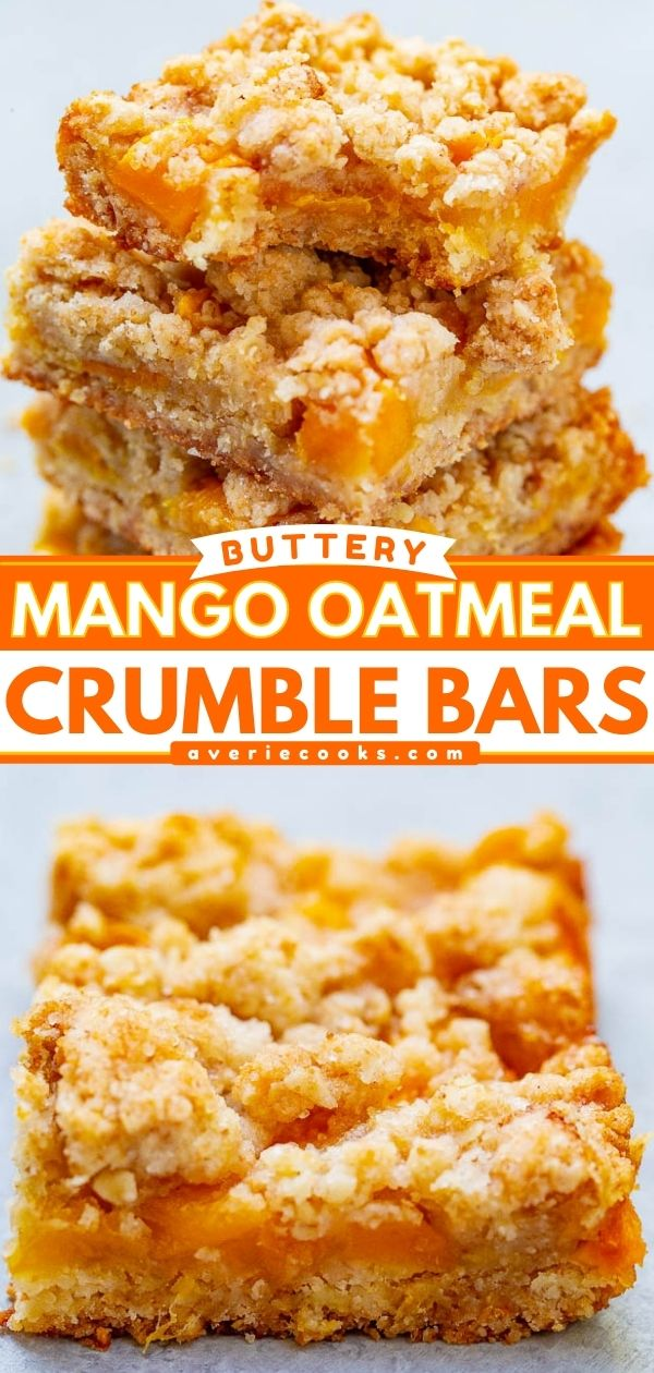 Oatmeal Mango Bars – These buttery bars are loaded with sweet fresh mango!! Just 10 minutes of prep, so EASY because the crust and crumble are one and the same, and a guaranteed family FAVORITE!!