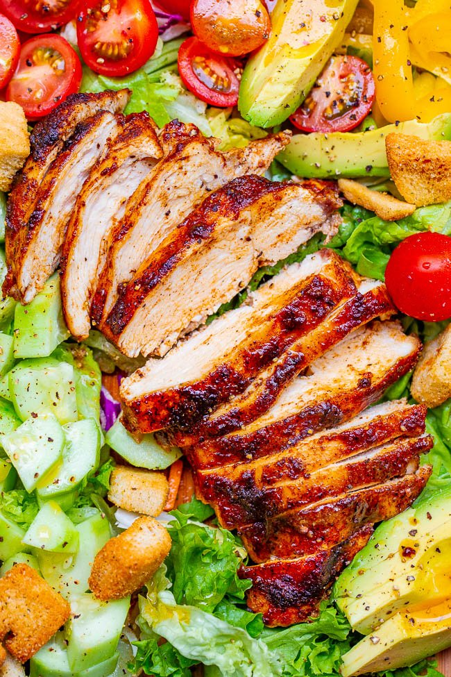 Chicken Chopped Salad - An EASY chopped salad with so much FLAVOR and CRUNCH topped with PERFECT juicy oven-baked chicken that's ready in 15 minutes!! Homemade honey apple cider vinaigrette adds the finishing touch!!