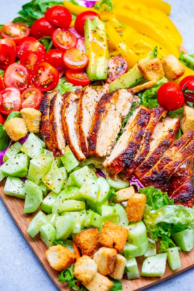 Chopped Chicken Salad — An EASY chopped salad with so much FLAVOR and CRUNCH topped with PERFECT juicy oven-baked chicken that's ready in 15 minutes!! Homemade honey apple cider vinaigrette adds the finishing touch!!