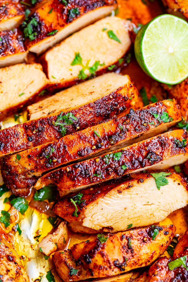 close up of sliced cilantro lime chicken breast