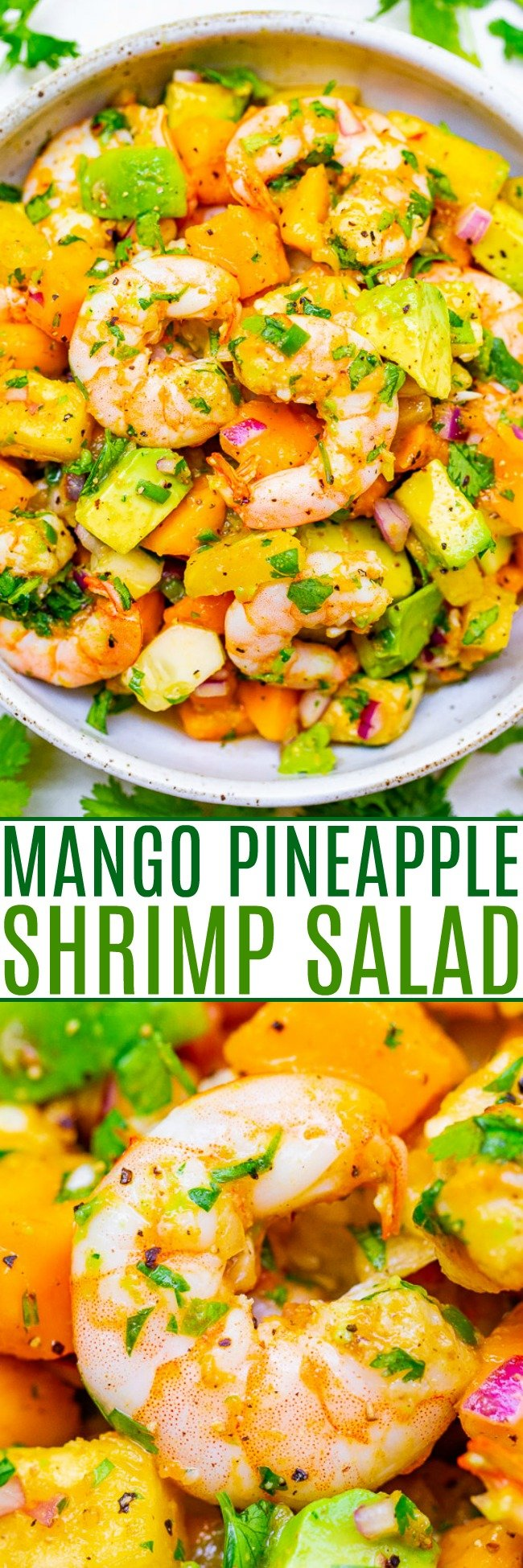 Mango Pineapple Shrimp Salad - With tropical fruit, avocado, red onion, lime juice, cilantro, and plump JUICY shrimp, this EASY 15-minute recipe will become a new FAVORITE!! Healthy and light with an assortment of wonderful flavors in every bite!!