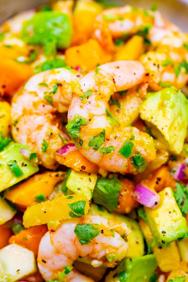 Mango Pineapple Shrimp Salad – With tropical fruit, avocado, red onion, lime juice, cilantro, and plump JUICY shrimp, this EASY 15-minute recipe will become a new FAVORITE!! Healthy and light with an assortment of wonderful flavors in every bite!!