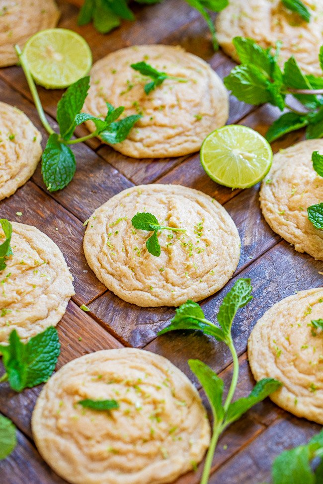 Soft and Chewy Mojito Cookies - Super SOFT and chewy cookies that taste like you're drinking a mojito!! Who can say no to rum, mint, lime, and sugar? A unique cookie that's so GOOD and they're PERFECT for spring and summer parties of any kind!!