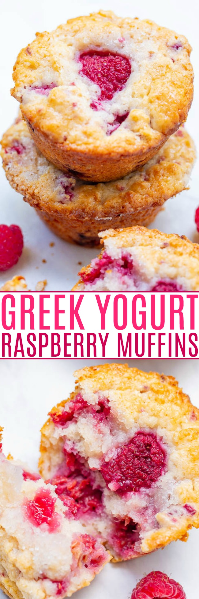 Greek Yogurt Raspberry Muffins - EASY, soft, fluffy muffins bursting with fresh raspberries!! So moist thanks to Greek yogurt in the batter! Not overly sweet and perfect with a cup of coffee or tea!!