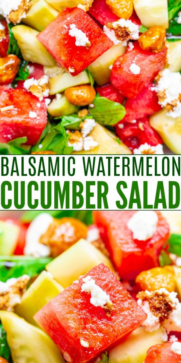 Balsamic Watermelon Cucumber Salad — An EASY, healthy, and light salad with watermelon, cucumber, arugula, goat cheese, candied nuts, and drizzled with a homemade balsamic glaze!! A PERFECT summer salad for those days when it's too hot to cook!!