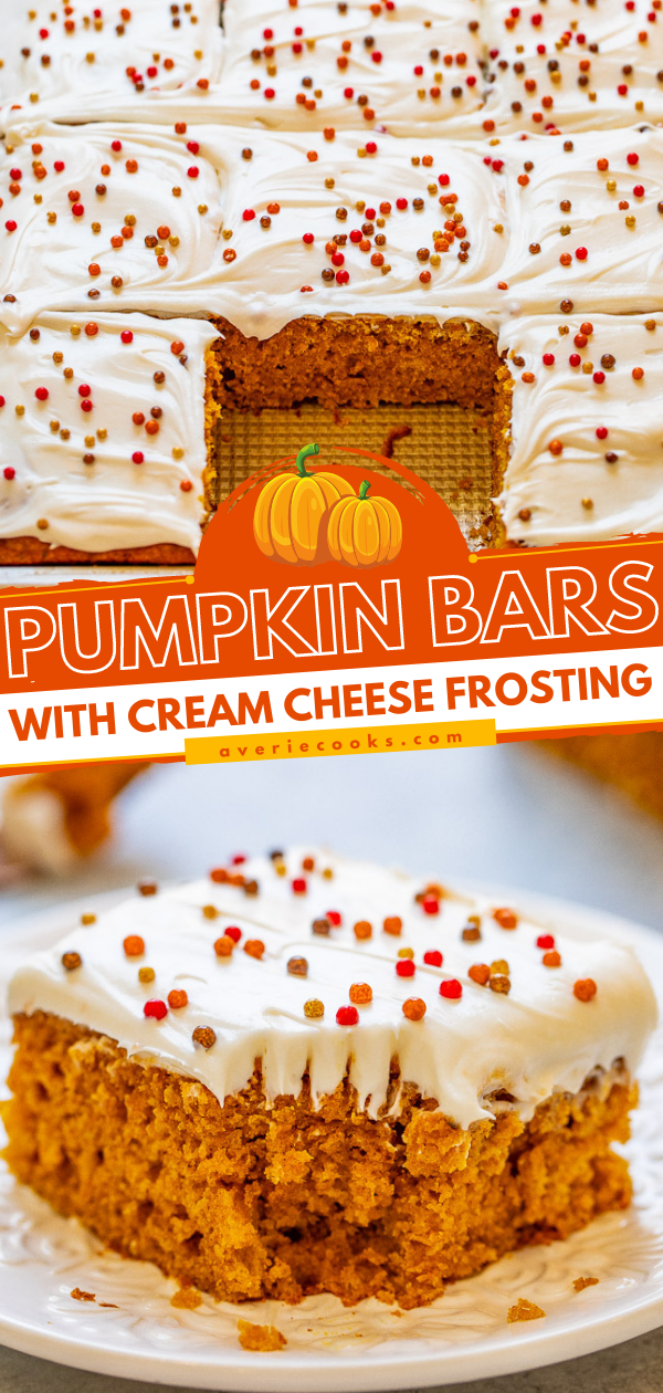 Pumpkin Bars with Cream Cheese Frosting — These super soft and moist pumpkin bars are the perfect EASY fall dessert!! Tangy cream cheese frosting is a wonderful complement to these perfectly pumpkin-spiced bars!!