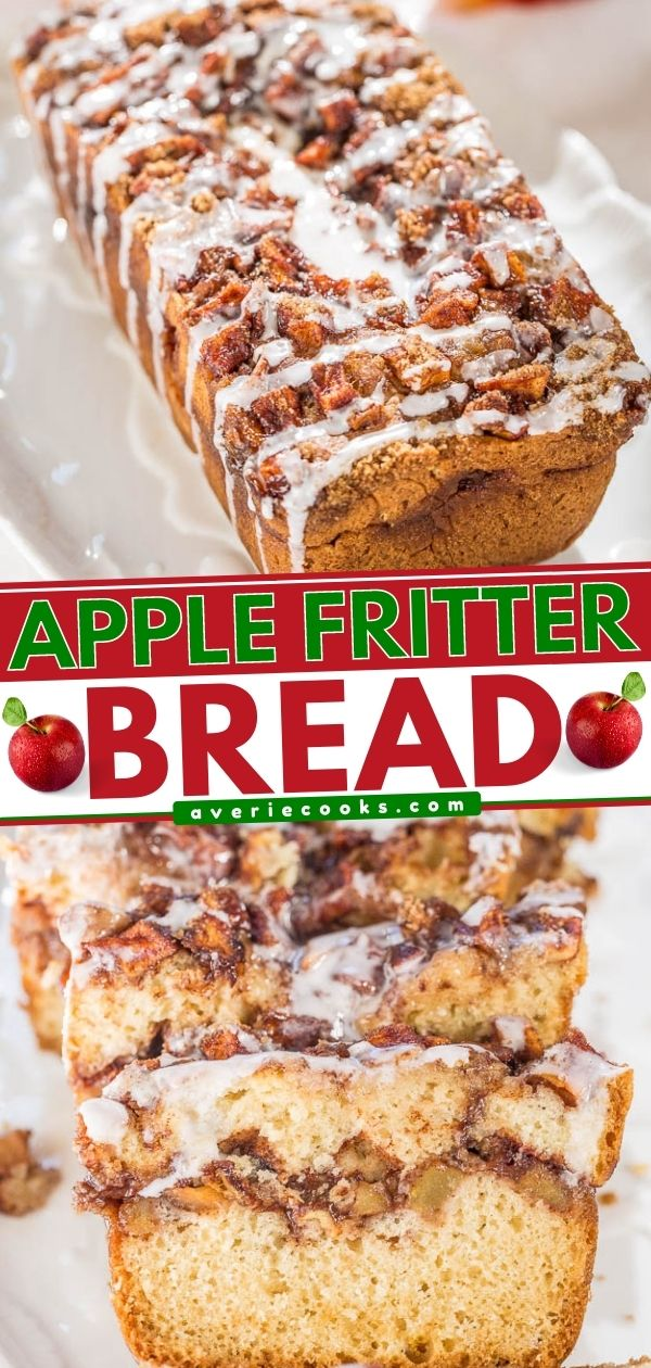 Apple Fritter Bread — Soft, fluffy bread that's stuffed AND topped with apples, cinnamon, and sugar!! Like apple fritters in bread form!! Best apple bread EVER!