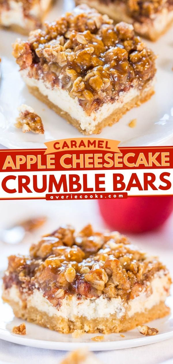 Caramel Apple Cheesecake Bars— These caramel apple cheesecake bars feature a buttery crust that's topped with cheesecake and spiced apples. After they're done baking, the bars are drizzled with salted caramel sauce!