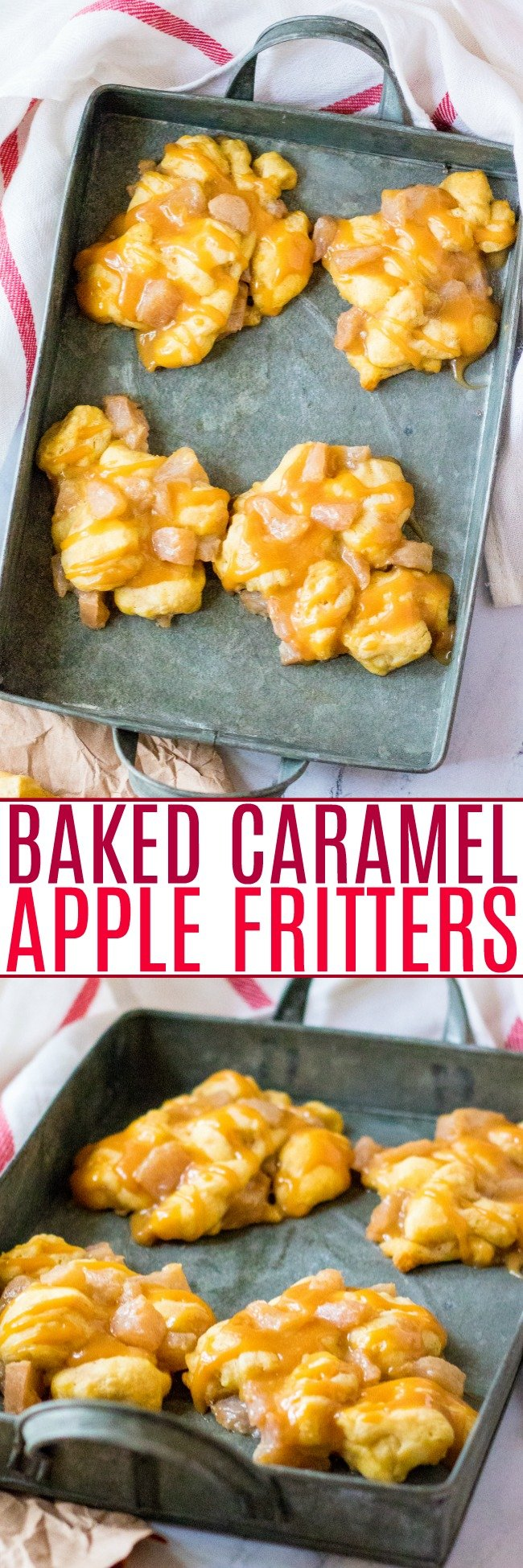 Baked Caramel Apple Fritters - Love the taste of apple fritters but don't want the calories or hassle that comes with frying them? Then these FAST and EASY baked apple fritters made with just four main ingredients are PERFECT!!