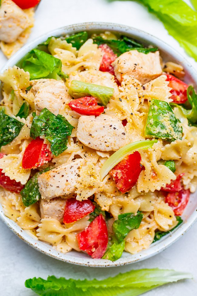Chicken Caesar Pasta Salad - The BEST version of a chicken Caesar salad because there's tender pasta, too!! EASY, ready in 20 minutes, makes a big batch, and a guaranteed family FAVORITE!!