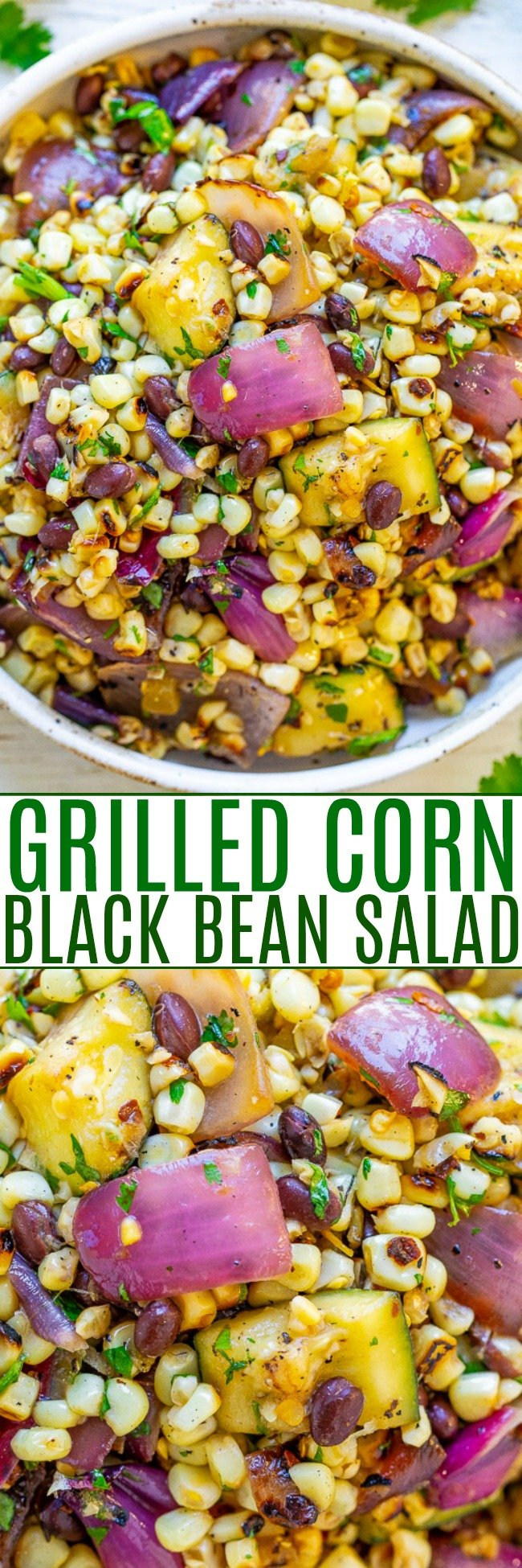 Grilled Corn and Black Bean Salad - An EASY corn salad with black beans, zucchini, red onions, cilantro, lime juice, and more!! So much Mexican-inspired FLAVOR in every bite of this family favorite recipe that's sure to be a hit!!