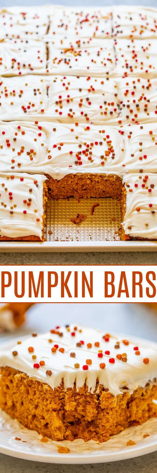 Pumpkin Bars with Cream Cheese Frosting - These super soft and moist pumpkin bars are the perfect EASY fall dessert!! Tangy cream cheese frosting is a wonderful complement to these perfectly pumpkin-spiced bars!!