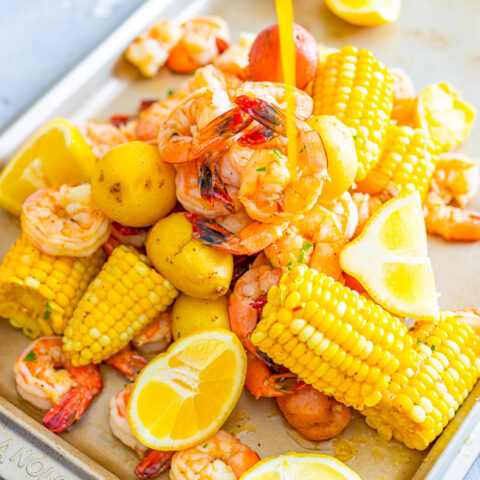Shrimp Boil – Juicy and succulent large shrimp along with corn and potatoes, all drenched in the most heavenly horseradish butter!! There's the option to make your own homemade and ultra flavorful stock for the boil or use store bought stock as a shortcut! Either way, this is a finger lickin' amazing meal!!