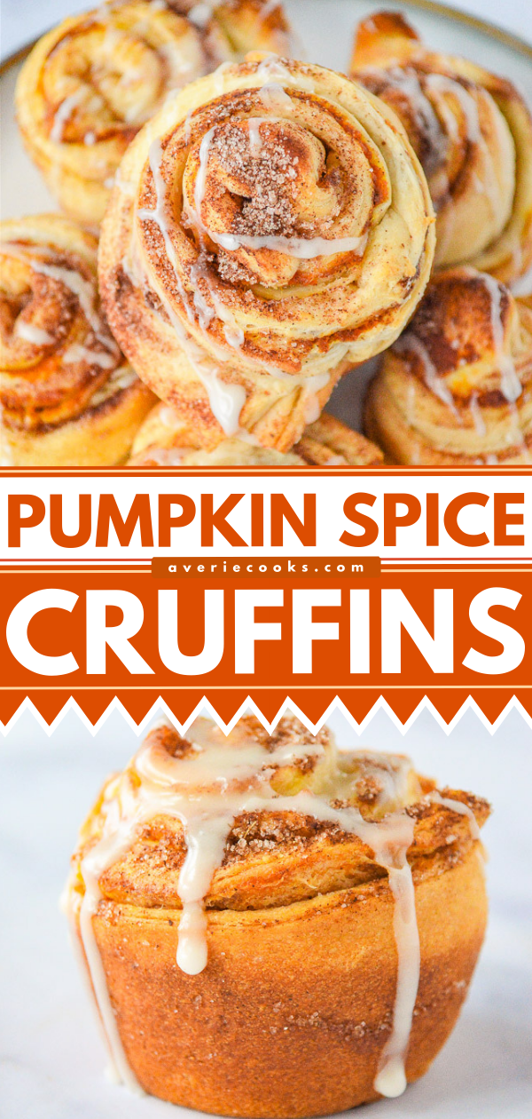 Pumpkin Spice Cruffins — What you get when you marry a croissant with pumpkin spice and bake it in a muffin pan!! The EASIEST recipe that uses just a handful of convenience ingredients, ready in 20 minutes, and perfect for pumpkin season!!