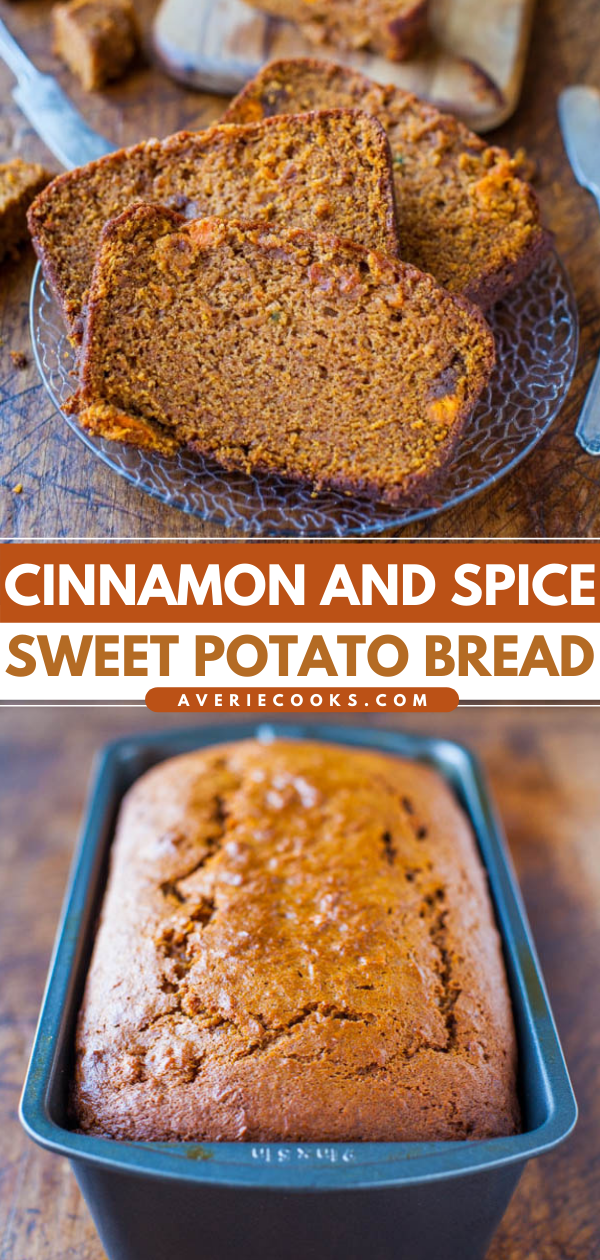 Cinnamon and Spice Sweet Potato Bread—Sweet potatoes do a wonderful job of keeping this bread extremely soft and moist. It's almost like cake it's so soft, springy, and bouncy!