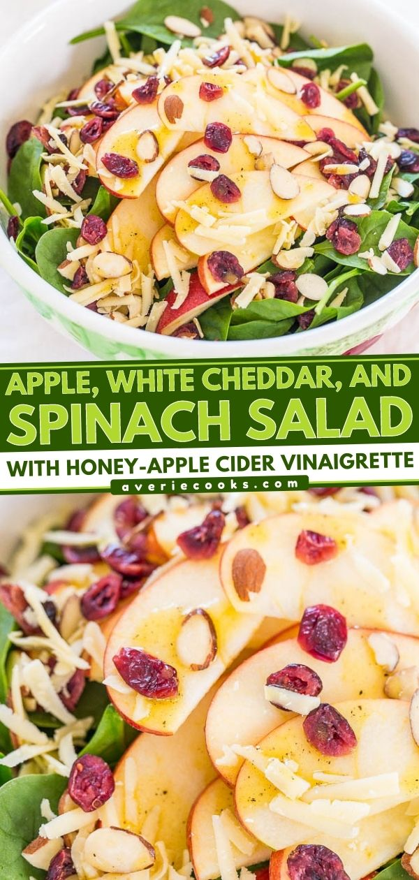 Spinach Apple Salad with Cheddar & Cranberries — The flavors just POP in this fast, easy, and healthy spinach salad! There are so many wonderful textures and flavors in every bite you can't help but like it!