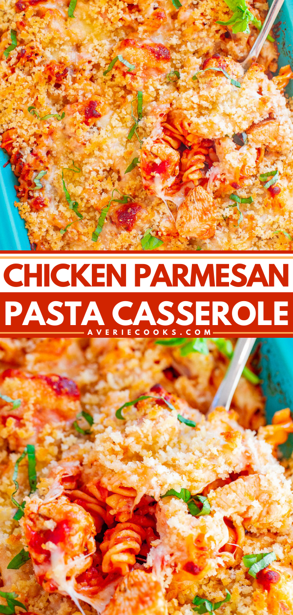 Chicken Parmesan Pasta Casserole - A hearty comfort food casserole that includes juicy chicken, pasta, marinara, the BEST crispy buttery breadcrumb topping and TWO types of cheese!! A family favorite big-batch recipe that's also great for meal prepping!!