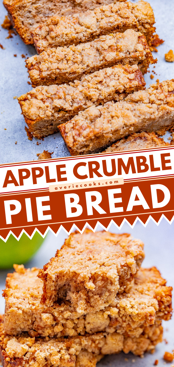 Apple Pie Bread with Streusel Topping — If you like apple crumble pie, you're going to love this EASY no-mixer apple pie bread!! Soft, tender, moist bread with the contrast of the slightly crunchy crumble topping is PERFECT! Great for breakfast, brunch, snacks, or dessert!!