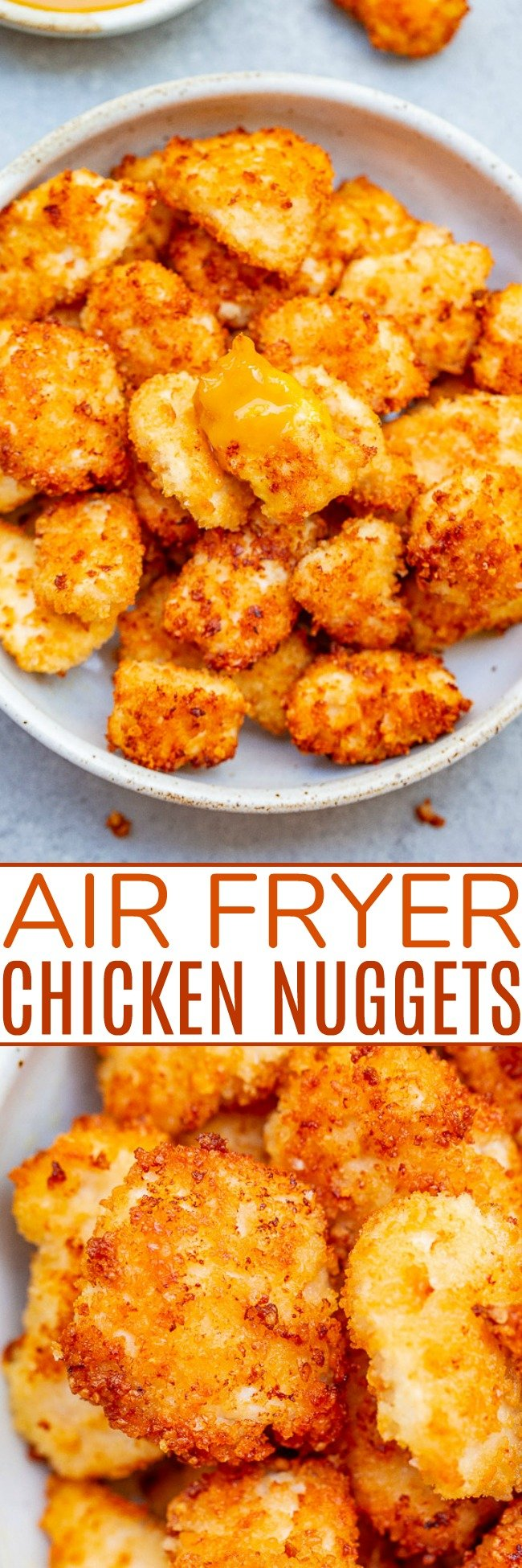 Crispy Air Fryer Chicken Nuggets — These EASY air fryer nuggetsare coated in a mixture of Panko breadcrumbs and grated Parmesan, which makes them EXTRA flavorful and SO CRISPY!! Dip them in this 30-second homemade honey mustard sauce for a guaranteed family FAVORITE!!