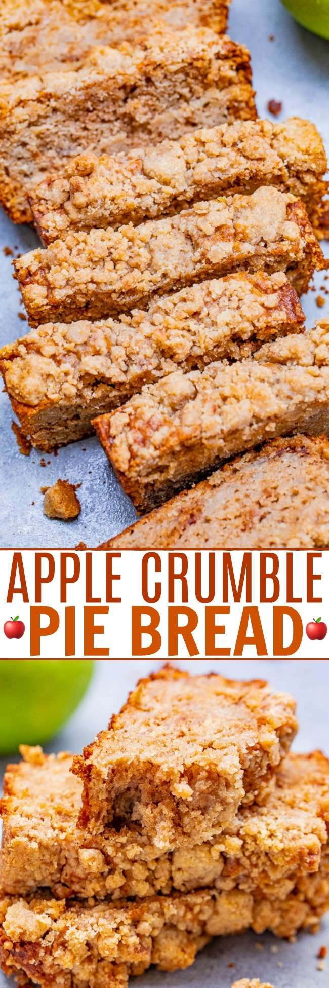 Apple Crumble Pie Bread - If you like apple crumble pie, you're going to love this EASY no-mixer apple pie bread!! Soft, tender, moist bread with the contrast of the slightly crunchy crumble topping is PERFECT! Great for breakfast, brunch, snacks, or dessert!!