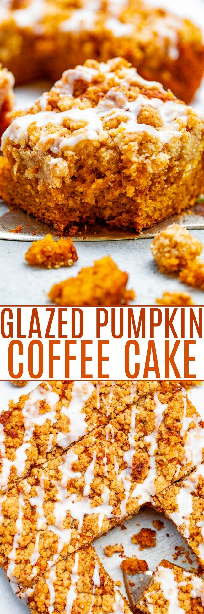 Glazed Pumpkin Coffee Cake - A FAST and EASY no-mixer pumpkin coffee cake with rich pumpkin flavor and topped with big oatmeal crumbles!! So soft, moist, tender! You're going to LOVE this cake for breakfast, brunch, or entertaining!!