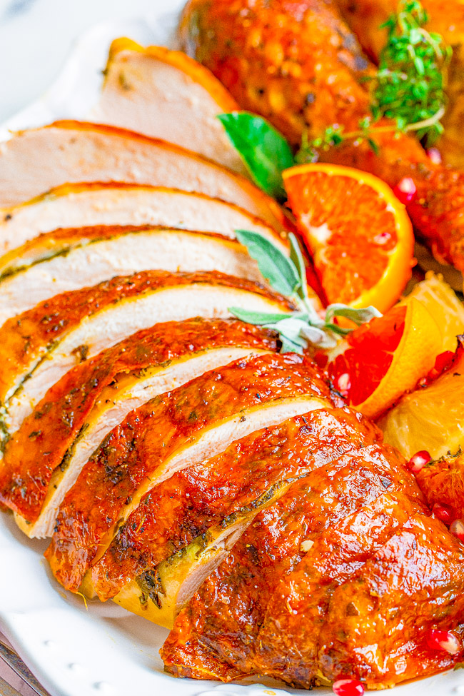 Close up of sliced herb roasted turkey.
