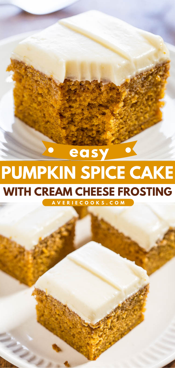 Pumpkin Cake with Cream Cheese Frosting— Moist pumpkin cake is topped with a creamy homemade cream cheese frosting. This easy fall dessert is perfect for Thanksgiving, Halloween, and more!