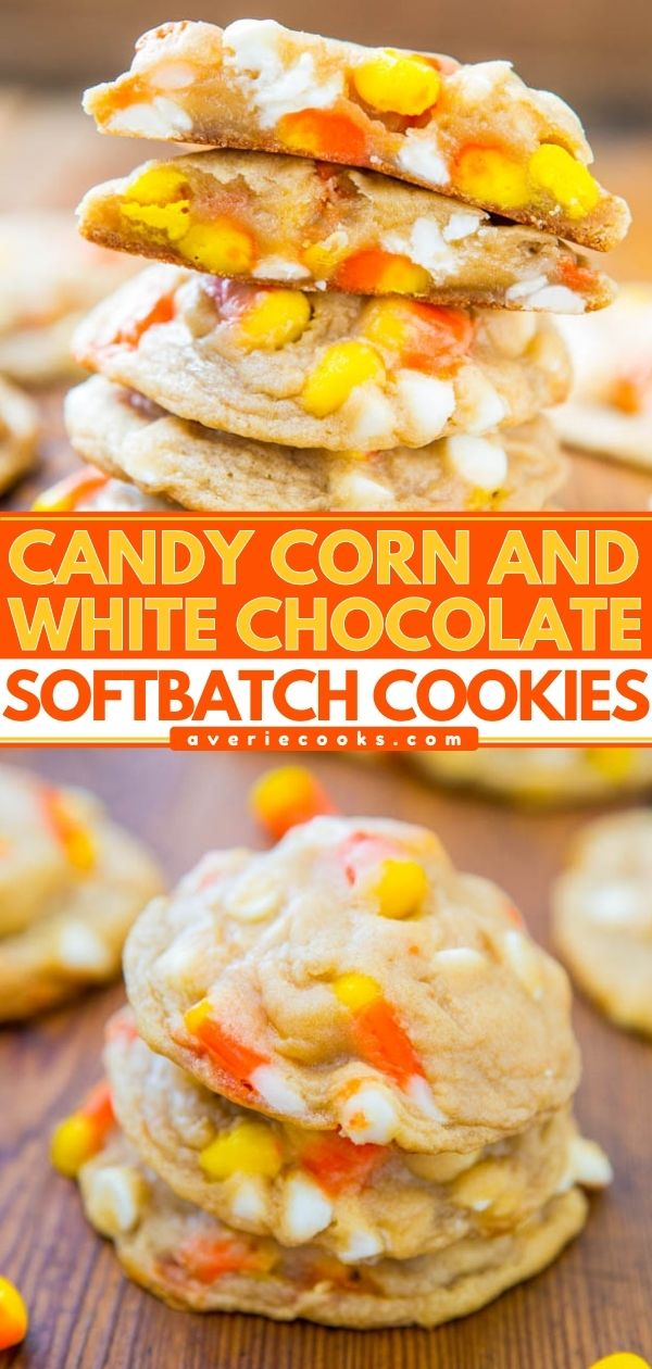 White Chocolate Candy Corn Cookies— These Halloween cookies are PACKED with candy corn and white chocolate chips. They're easy to make and are always a hit with the kids!