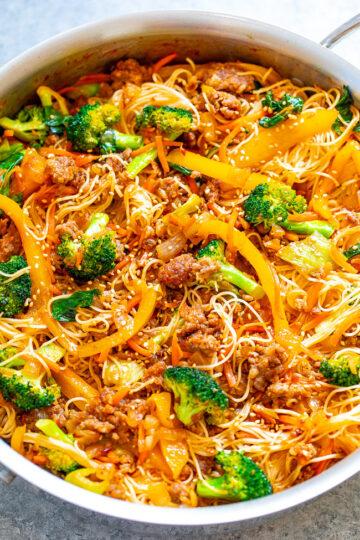 Asian Pork Noodle Stir Fry