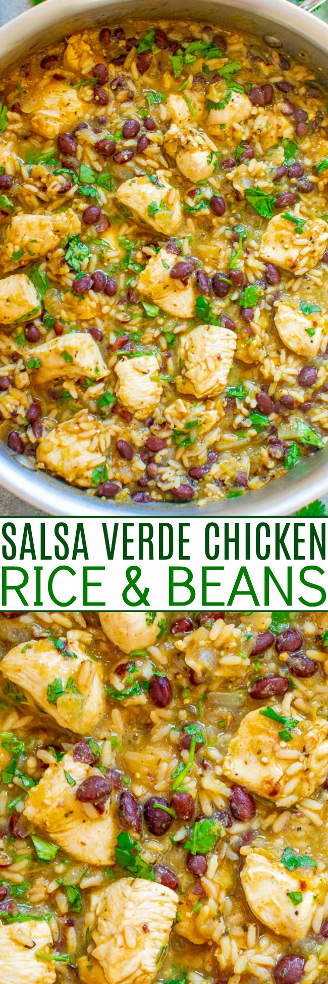 15-Minute Salsa Verde Chicken, Rice, and Beans - Fast, EASY, one skillet recipe!! Between the salsa verde, lime juice, and cilantro mixed with juicy chicken, rice, and beans, you'll be hooked! Perfect for busy weeknights and meal prepping!!