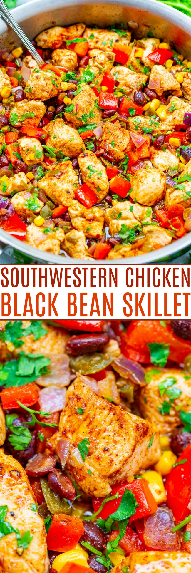 15-Minute Southwestern Chicken and Black Bean Skillet - An EASY chicken skillet with red onions, black beans, corn, green chiles, lime juice, and cilantro!! So much flavor and texture in every bite of this HEALTHY naturally gluten-free recipe that's great for planned leftovers and meal prepping!!