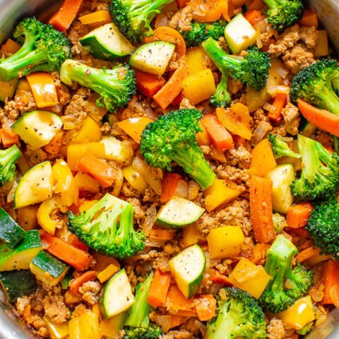 Healthy Turkey and Vegetable Stir Fry – An EASY, flavorful, FLEXIBLE stir fry that takes advantage of lean protein and your favorite veggies that you have in your produce drawer!! Ready in 25 minutes and perfect for meal-prepping!!